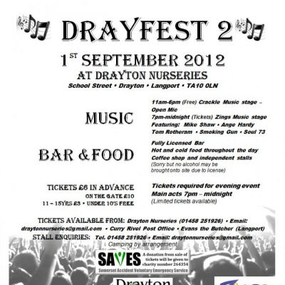 ' DRAYFEST 2 ' Tickets | Drayton Nurseries Drayton, Nr Langport  | Sat 1st September 2012 Lineup