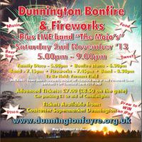 "Dunnington Bonfire, Fireworks & Live Band ""The Mojo's"" at Dunnington York"