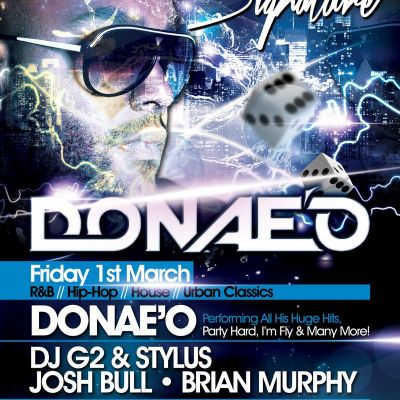 DONAE'O LIVE @ ENTOURAGE MCR - FRIDAY 1ST MARCH Tickets | Entourage Manchester   | Fri 1st March 2013 Lineup