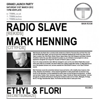 TRMNL - Radioslave (Rekids), Mark Henning (Cityfox) Tickets | LAB11 Birmingham  | Sat 31st March 2012 Lineup