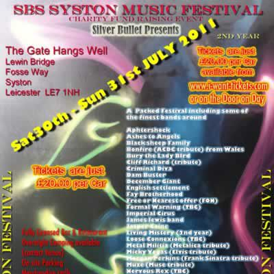 SBS Music Festival | The Gate Hangs Well Syston  | Sat 30th July 2011 Lineup