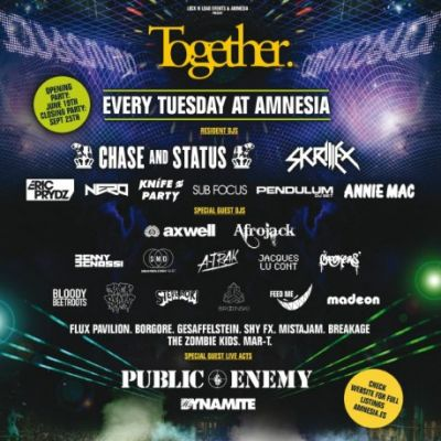 Together | Amnesia San Rafael 07816  | Tue 3rd July 2012 Lineup