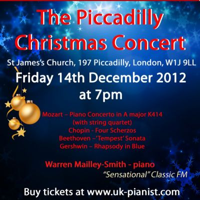 The Piccadilly Christmas Concert 2012 - Gershwin Rhapsody in Blue  Tickets | St James's Church - Piccadilly London  | Fri 14th December 2012 Lineup