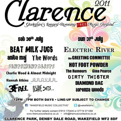 Clarence Park Festival | Clarence Park Bandstand Wakefield  | Sat 30th July 2011 Lineup