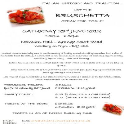 Reviews: DE GUSTIBUS: LET THE  BRUSCHETTA  SPEAK FOR ITSELF!  | Newman Hall Westbury On Trym  | Sat 23rd June 2012