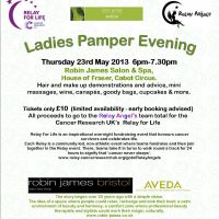 Ladies Pamper Evening for Cancer Research UK at Robin James Salon  And  Spa House Of Fraser Cabot Circu