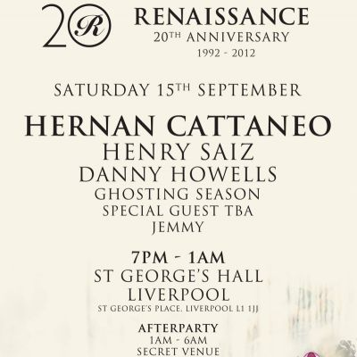 Renaissance 20th Anniversary Tickets | St Georges Hall Liverpool  | Sat 15th September 2012 Lineup